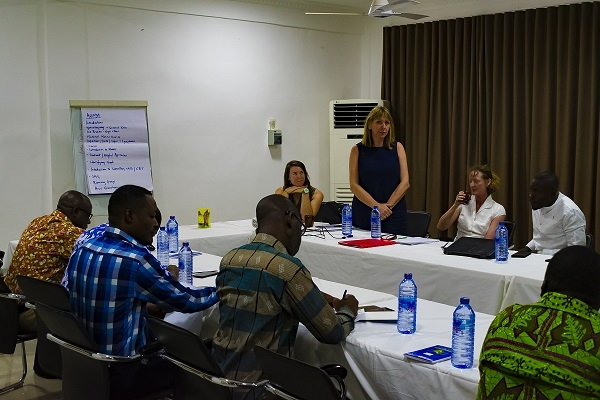 Julia Hemery (standing), one of the three facilitators from the NHS directing a session during the training for project staff